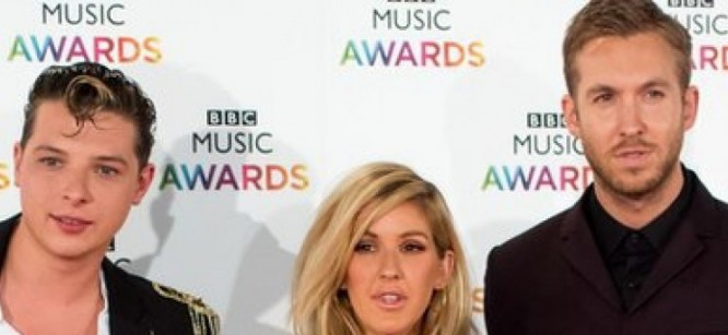 Calvin Harris Performs With Ellie Goulding & John Newman At BBC Music Awards